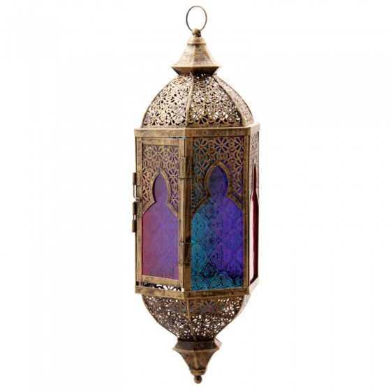 Hanging Moroccan Style Lantern With Intricate Fretwork