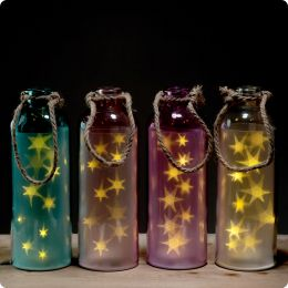 Decorative LED Glass Light Jar - Coloured Stars Large with Rope