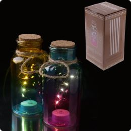 Decorative LED Light Jar - Coloured with Cork Top