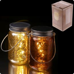 Decorative LED Light Jar - Metallic